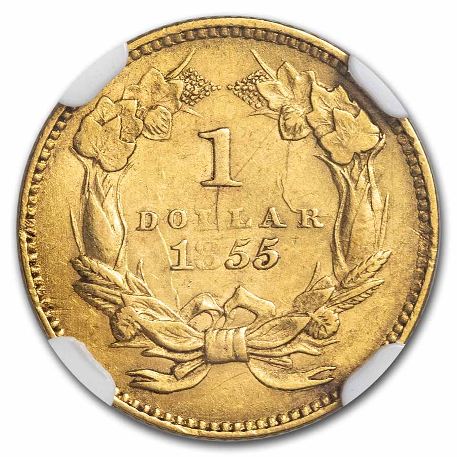 1855 $1 Indian Head Gold AU-55 NGC